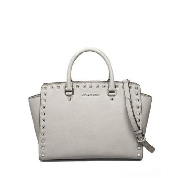 8793691096d4cb Michael Kors Bags | Selma Pearl Grey Studded Bag | Poshmark